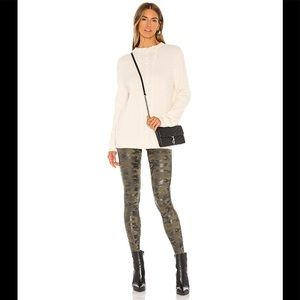 NWT SPANX Faux Leather Legging Green Camo S/2-4